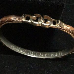GUCCI 24k Plated Florence Italy Snakeskin Bracelet